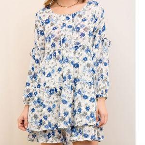 Ivy Blue Floral Print Tiered Babydoll Dress